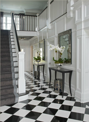 Black And White Checkered Marble Floor In Hallway Susan Glick