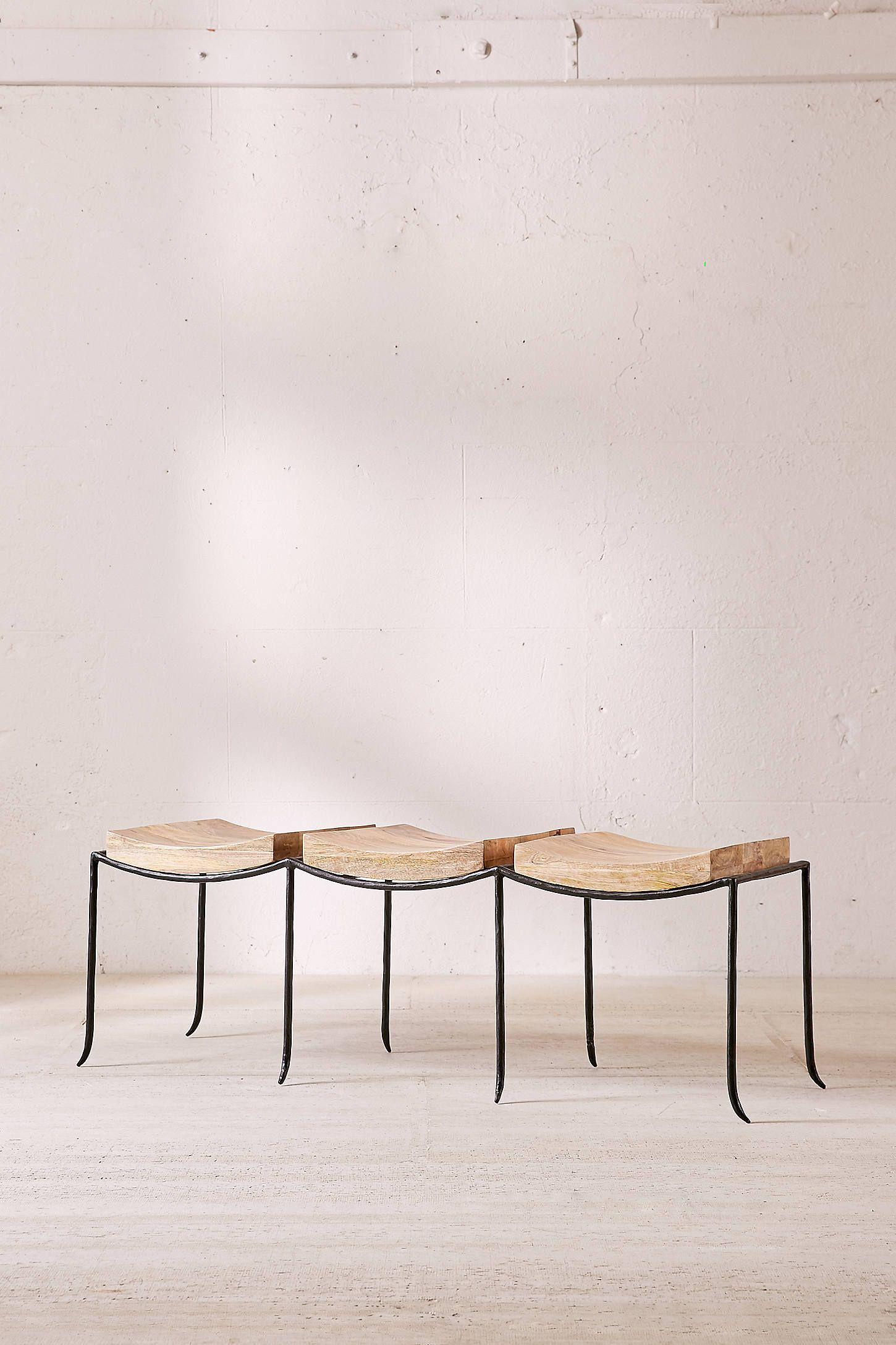 Tri Seat Mango Wood Bench Ottomans Stools Benches Pinterest