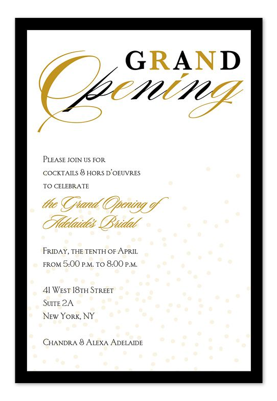 Grand Opening Confetti Invitation Inspiration Grand Opening