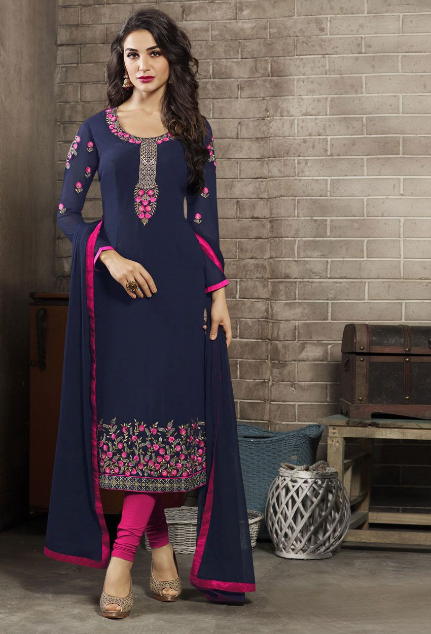 21c03916ab Semi-Stitched Navy Blue Georgette Pakistani Suit #georgette #salwarsuit  #designer #bollywood #georgettesalwarkameez #georgettesuit  #georgettesalwarsuit ...