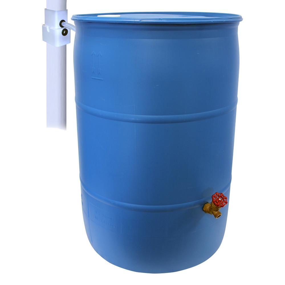 Emsco 55 Gal Paintable Blue Plastic Drum Diy Rain Barrel Bundle With Diverter System And Built In Spigot 2772 1 Rain Barrel Plastic Drums Rain Barrel System