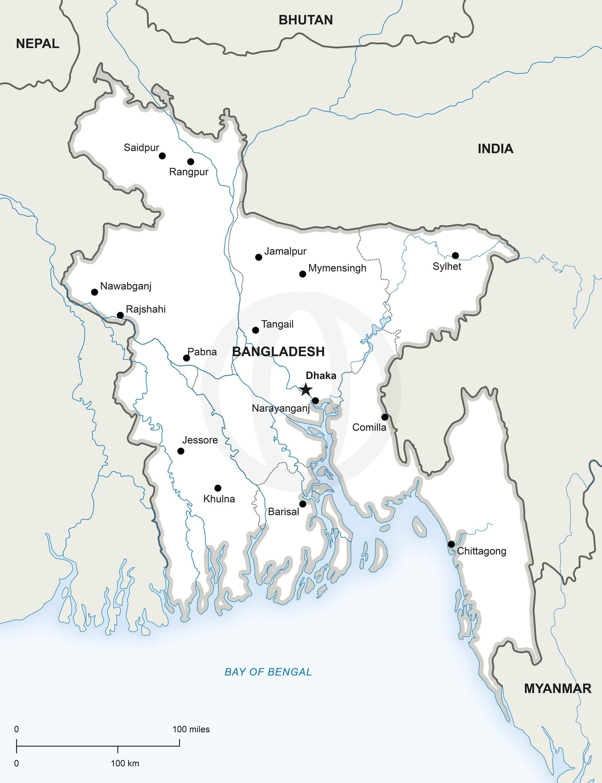Vector Map of Bangladesh Political  Illustrators
