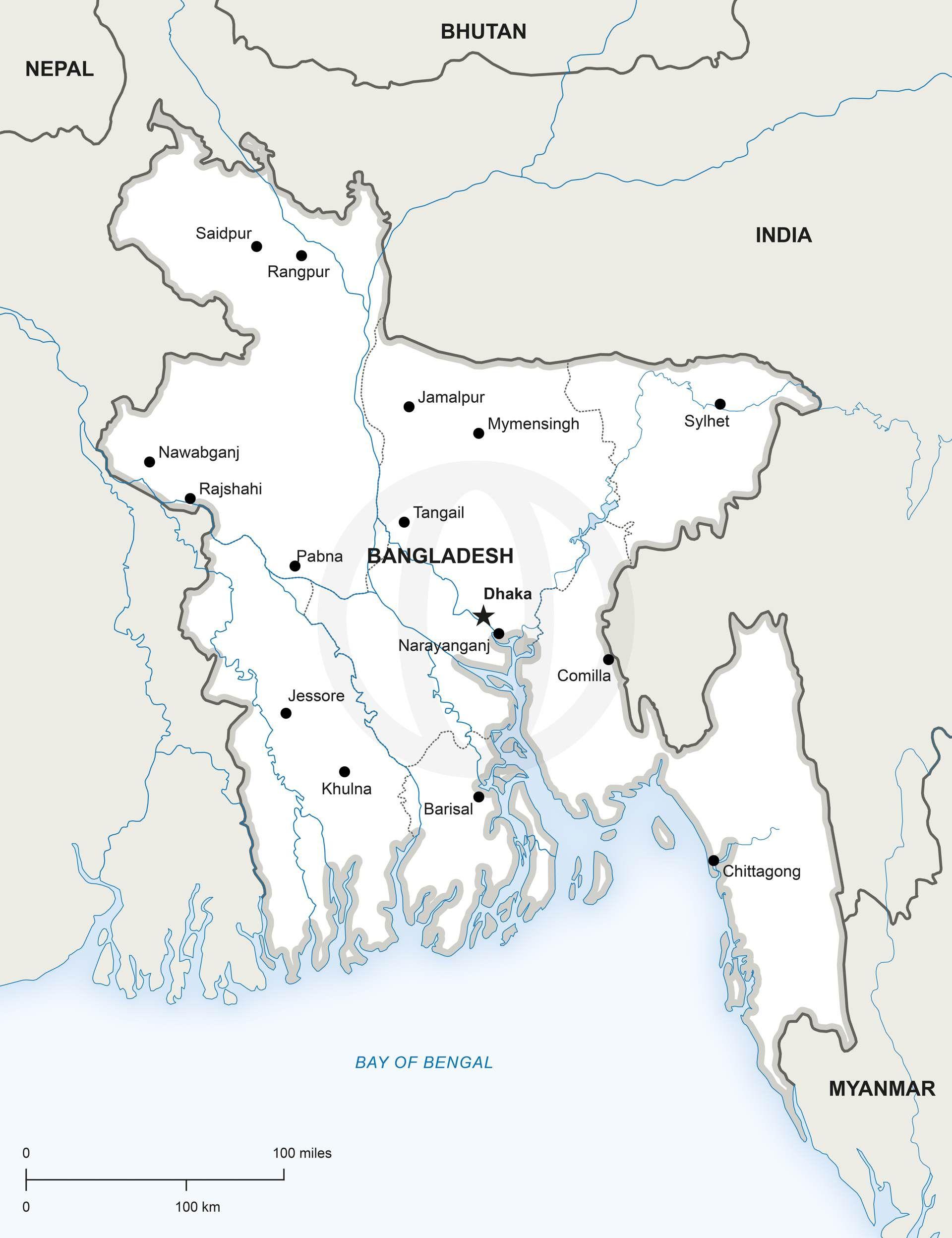 Vector Map of Bangladesh Political  Illustrators
