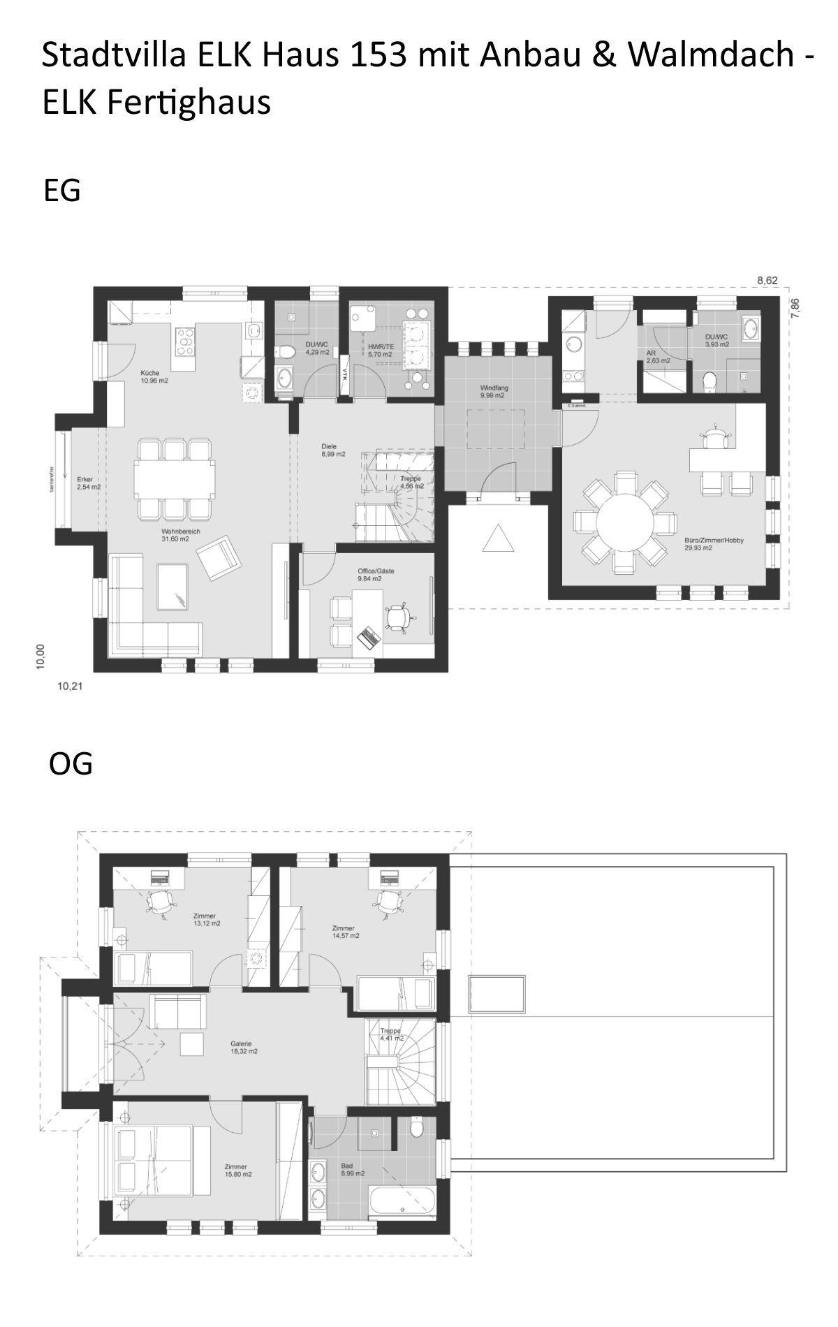 Stadtvilla Grundriss modern mit Büro Anbau & Walmdach