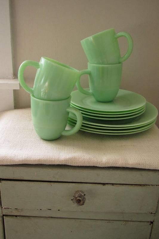 Jadite dinnerware set. In my dreams I see my future house has a whole set of jadeite dishes for me to use every.single.day. & Vintage 12 Piece Jadeite Dish Set (Four Place Settings) | Dinnerware ...