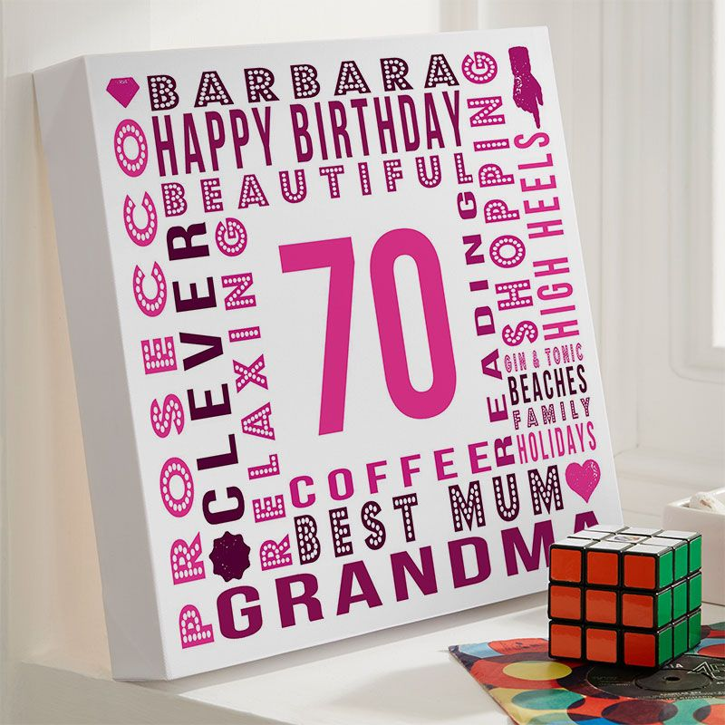 Personalised 70th Birthday Gift For Her Of Text Art Canvas Print Barola Shades Colour Option Beautiful Word Gifts To Commemorate A