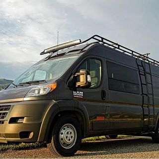 Dodge Promaster With Aluminess Roof Rack And Ladder Van Roof Racks Roof Rack Ford Transit