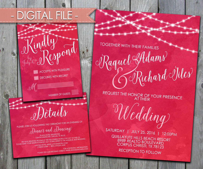 Pink Wedding Invitation, Pink Floral Wedding Invitation, Wedding ...