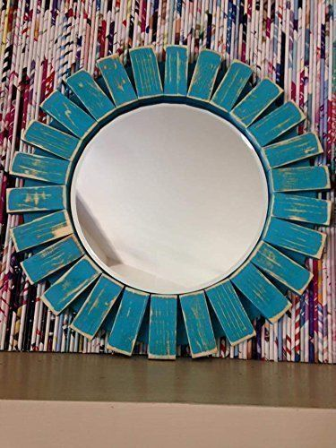 Turquoise Wall Mirror sunburst wall mirror round wood frame red 22'' flamingo red