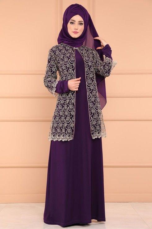 Modaselvim Bugune Ozel Seyyar Yelekli Tesettur Abiye Smt3014 S Mor Dengan Gambar Model Pakaian Model Pakaian Muslim Gaun Perempuan