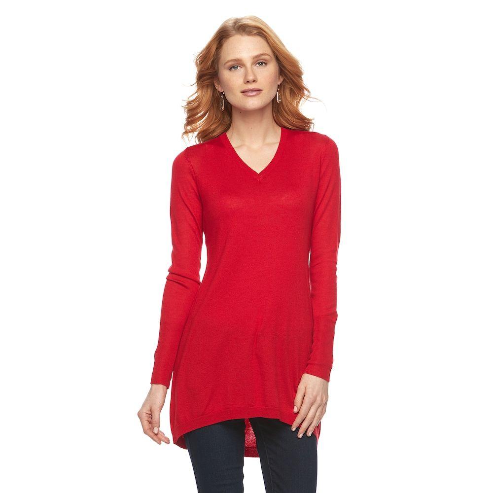 Women's Apt. 9® V-Neck Tunic Sweater, Size: XXL, Med Pink | Tunic ...