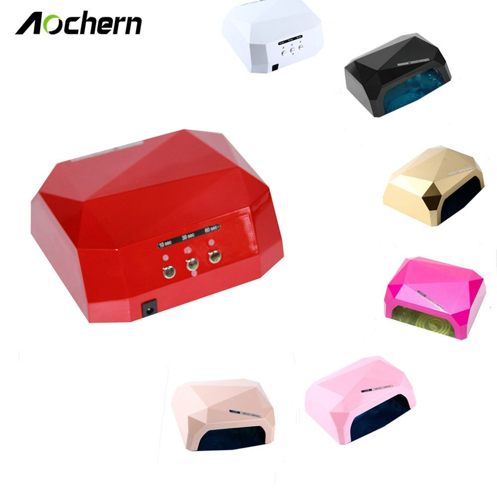 Aochern New Popular Drying Gel Polish Nail Tools 36w Nail Dryer Red Diamond Shape Led Uv Ccfl Light Gel Curing Lamps Diamond Light Gels Nail Dryer Gel Nail Polish