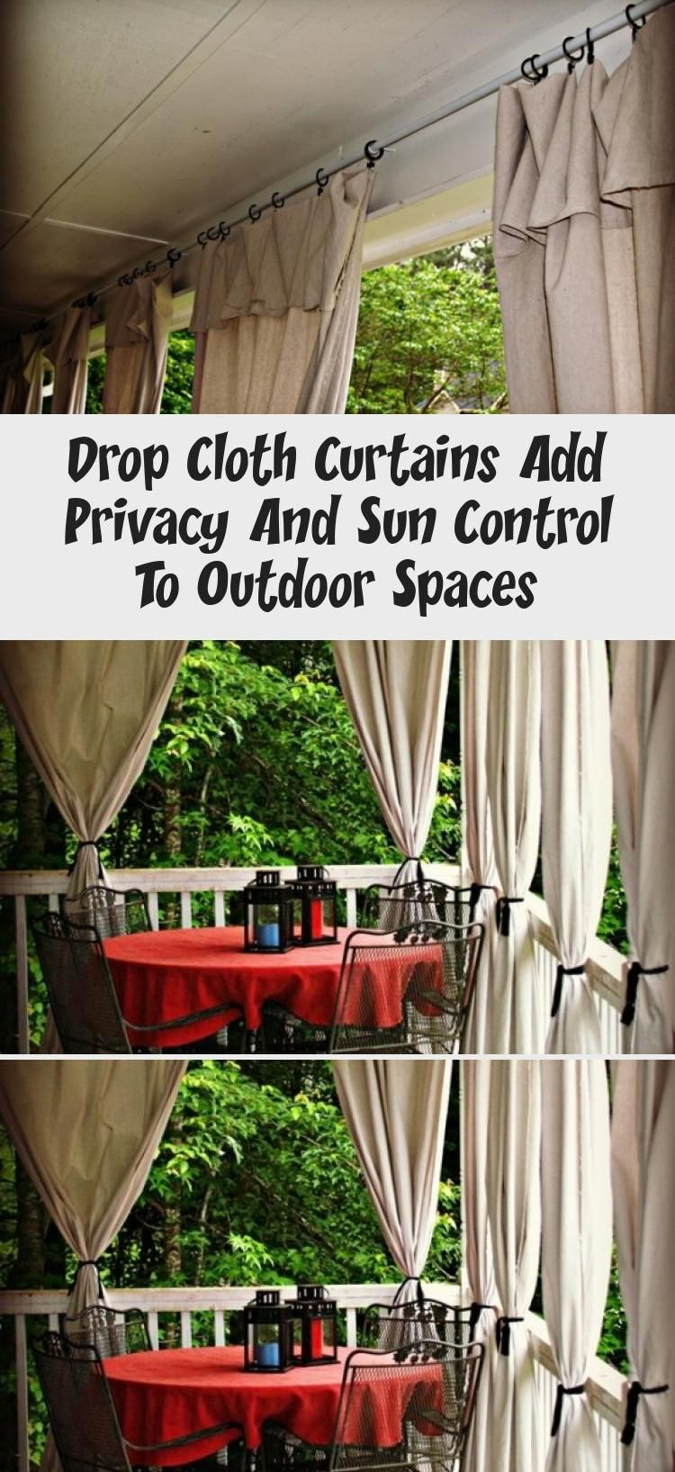 Drop cloth curtains add privacy and sun control to outdoor