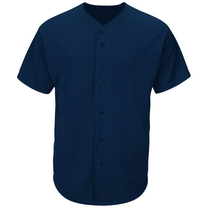 c66d83f32 Majestic Youth Cool Base Button Front Baseball Jersey - Navy