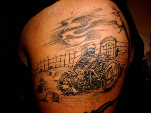motorcycle biker tattoos absolute biker tattoo designs for skeleton design tattoosdealcom. Black Bedroom Furniture Sets. Home Design Ideas