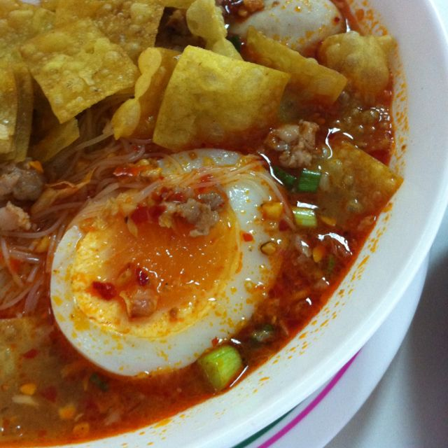 Spicy noodle with egg boil (thai style noodle) :)
