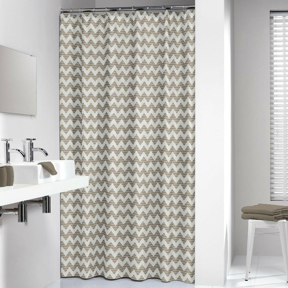 Extra Long Polyester Shower Curtain Chevron Beige 72 X 78 Brown