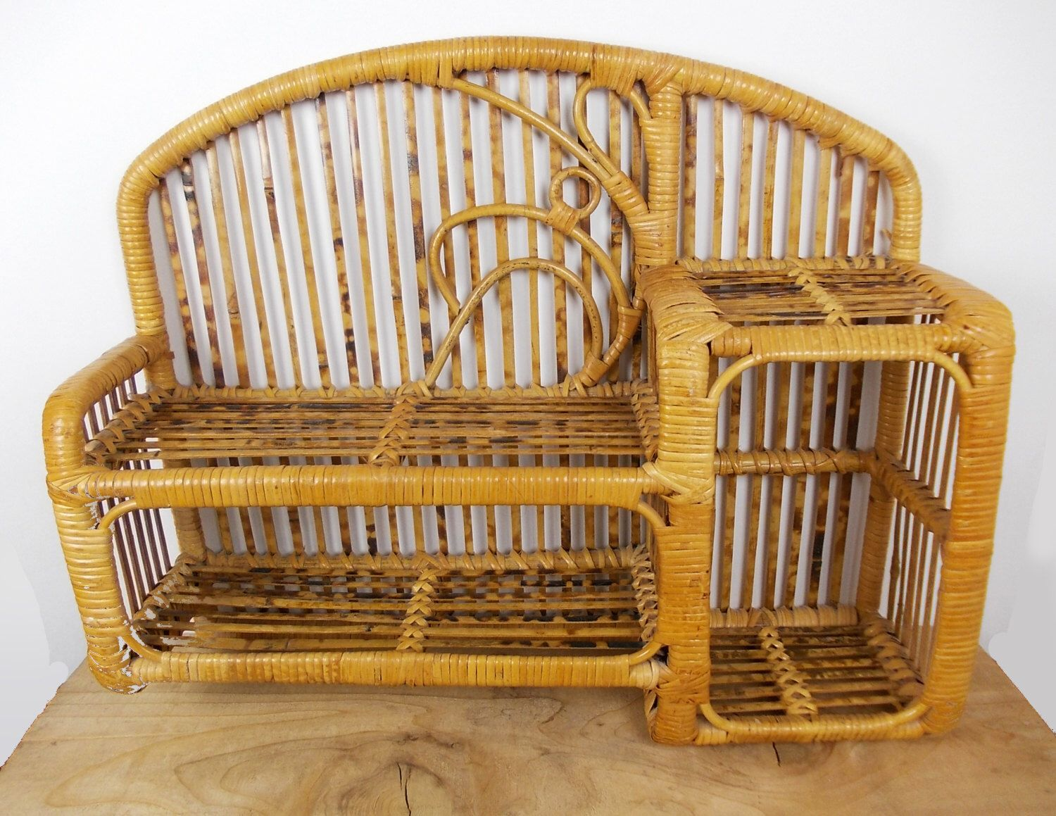 vintage bamboo shelf, rattan wall shelf, wicker furniture