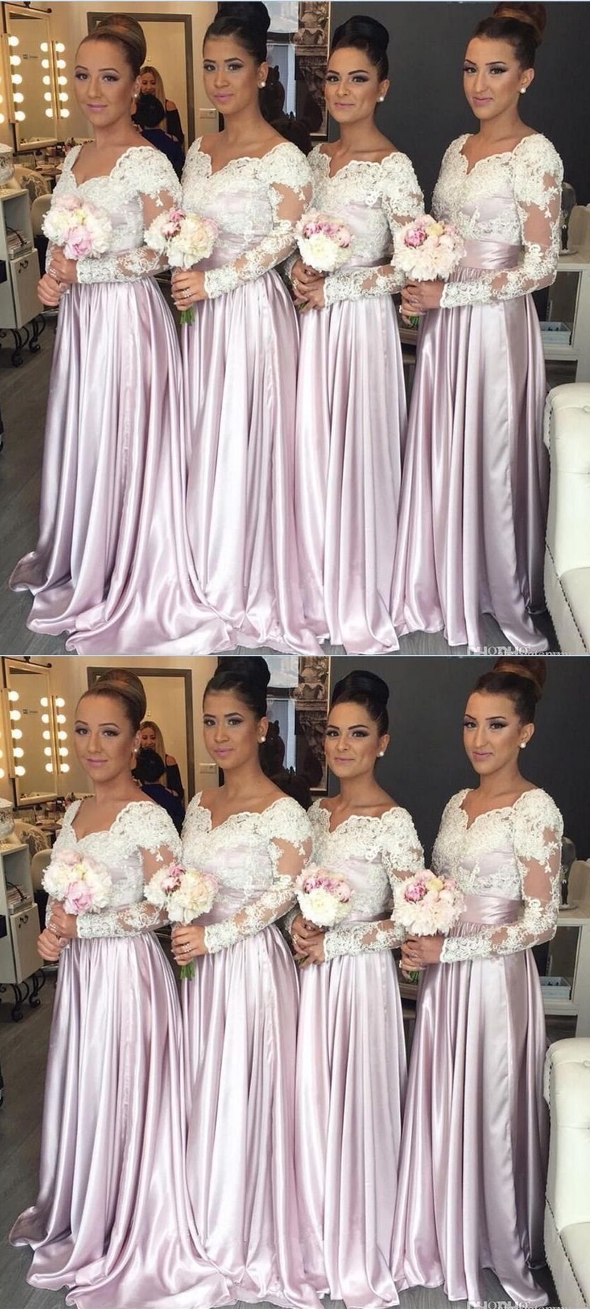 Lilac bridesmaid dresses with long sleeves chic wedding party