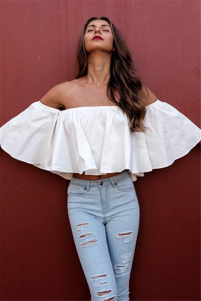 White Off Shoulder Ruffle Blouse Short Crop Top   Showing those ... d79f59e73c0c