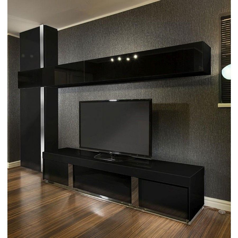 Large Tv Stand Wall Mounted Storage Cabinet Black Glass Black