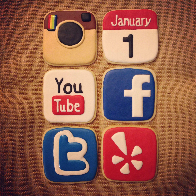 Social media sugar cookies | http://www.facebook.com ...