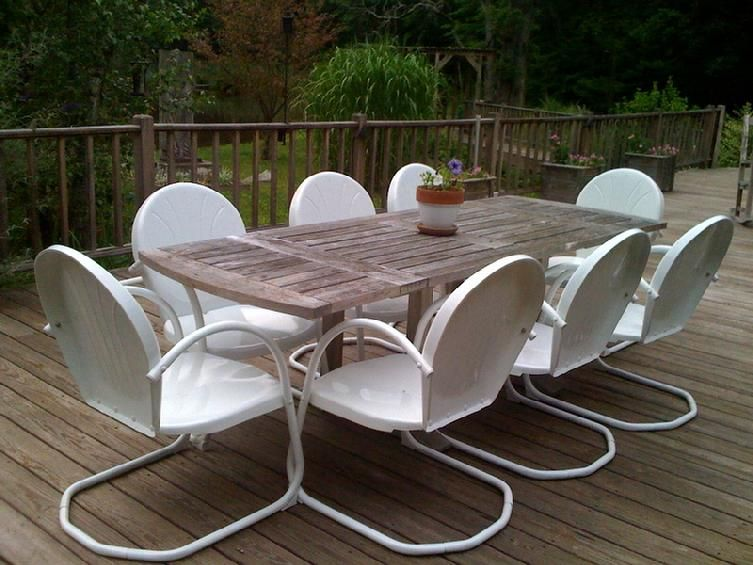 6 Classic Retro Metal Lawn White Chairs Furniture Metal Patio