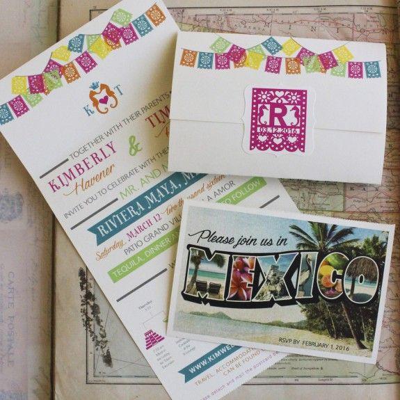 All in one wedding invitation serendipity beyond design blogs tropical seal and send wedding invitation riviera maya mexico design fee stopboris Images