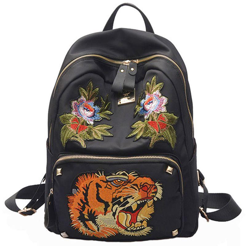 ab26340038 Embroidery Backpack Women Backpacks For Teenage Girls School Bag Casual  Bagpack Black Printing Rucksack Mochila Feminina