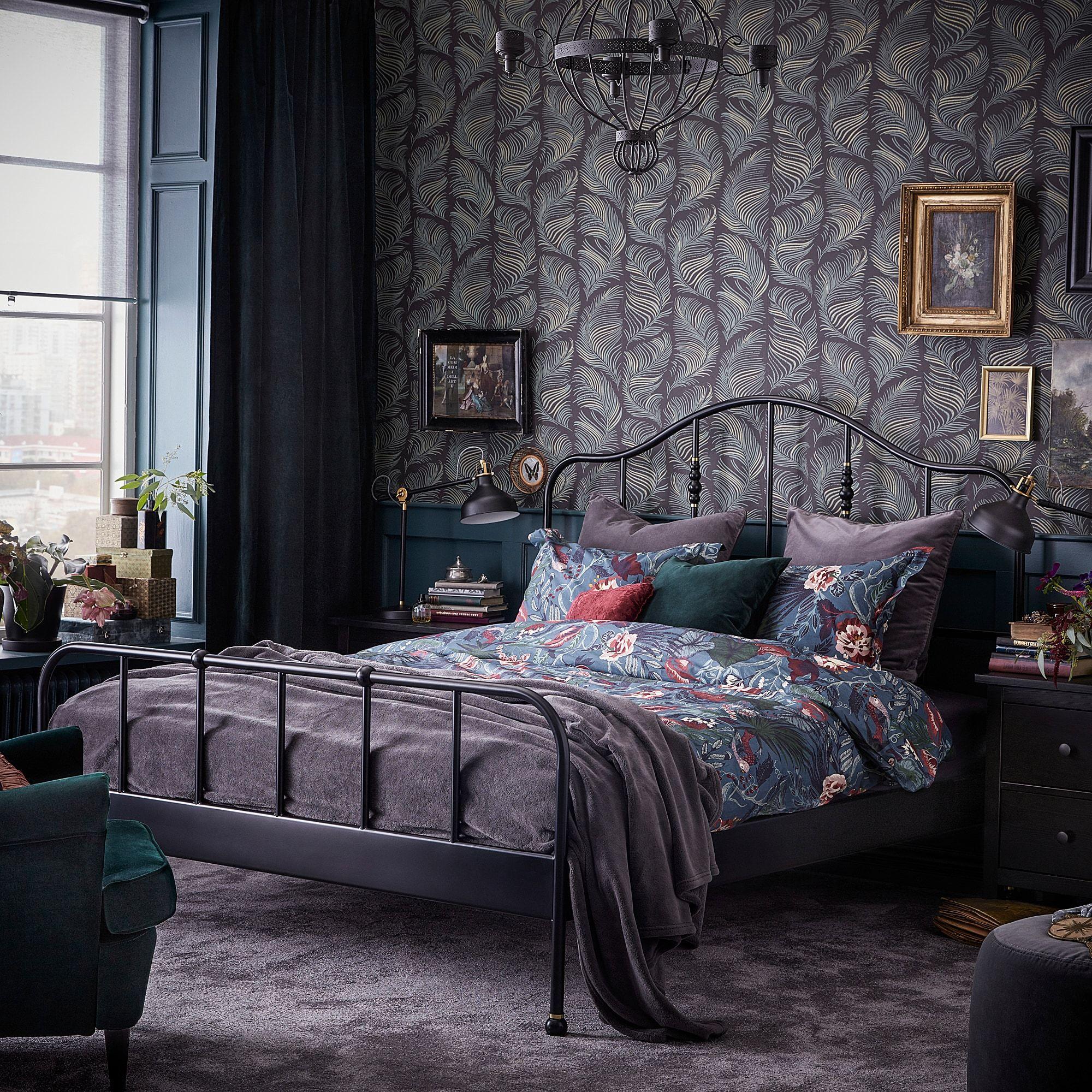 Sagstua Bed Frame Black Queen In 2020 Ikea Bed Frames Bed