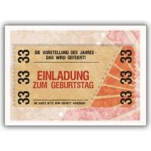 Party Einladungskarte Zum 33 Geburtstag Im Coolen Ticket Look