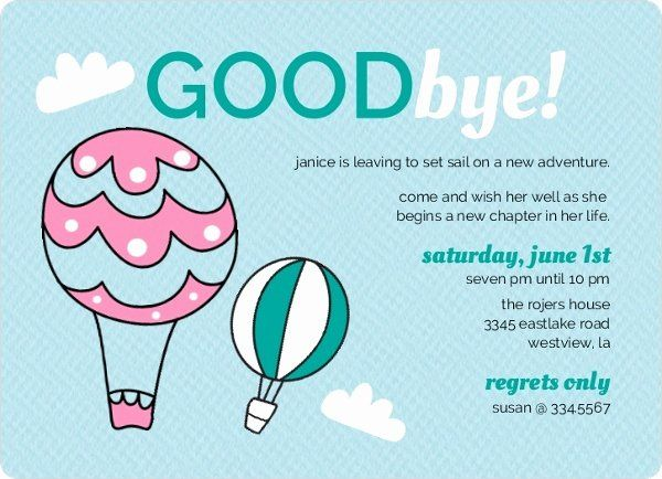 goodbye party invitation wording luxury hot air balloons