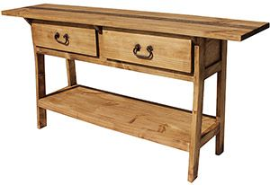 Hand Made In Mexico This Long Narrow Table Fits Well Behind A Sofa Or In An Entry Hall Two Deep And Rustic Pine Furniture Rustic Sofa Tables Pine Furniture