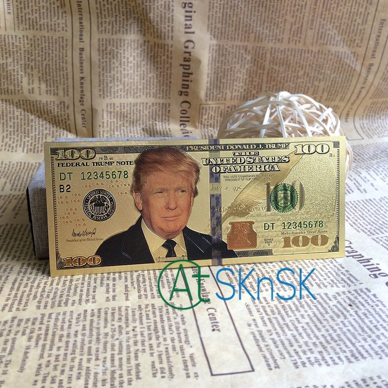 10PCS//SET Unique American Gold Foil Dollar Banknote Fake Money Art Crafts Highly