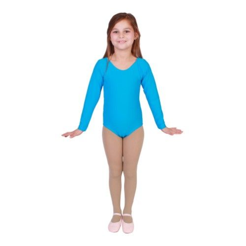 933094090 Big Girls Turquoise Solid Color Long Sleeved Dancewear Leotard  6 7 ...
