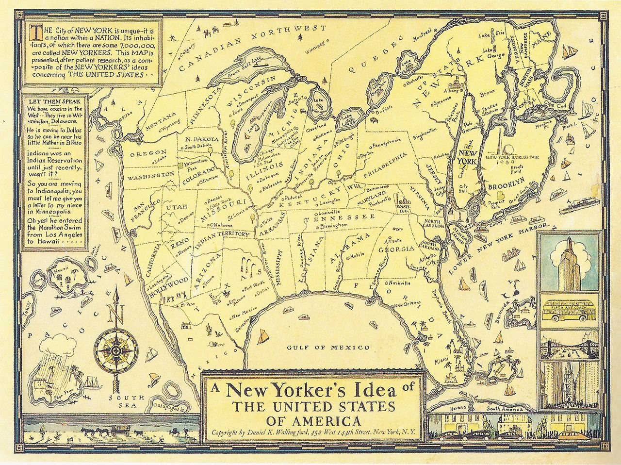 Us Map According To New Yorkers.Map Of Us According To New Yorkers Cartography Map Us Map