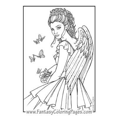 Karoz By Ina Jane Angel Fantasy Myth Mythical Legend Wings Warrior Valkyrie Anjos Goth Gothic Coloring Pages Colouring Adult Detailed Advanced Printable