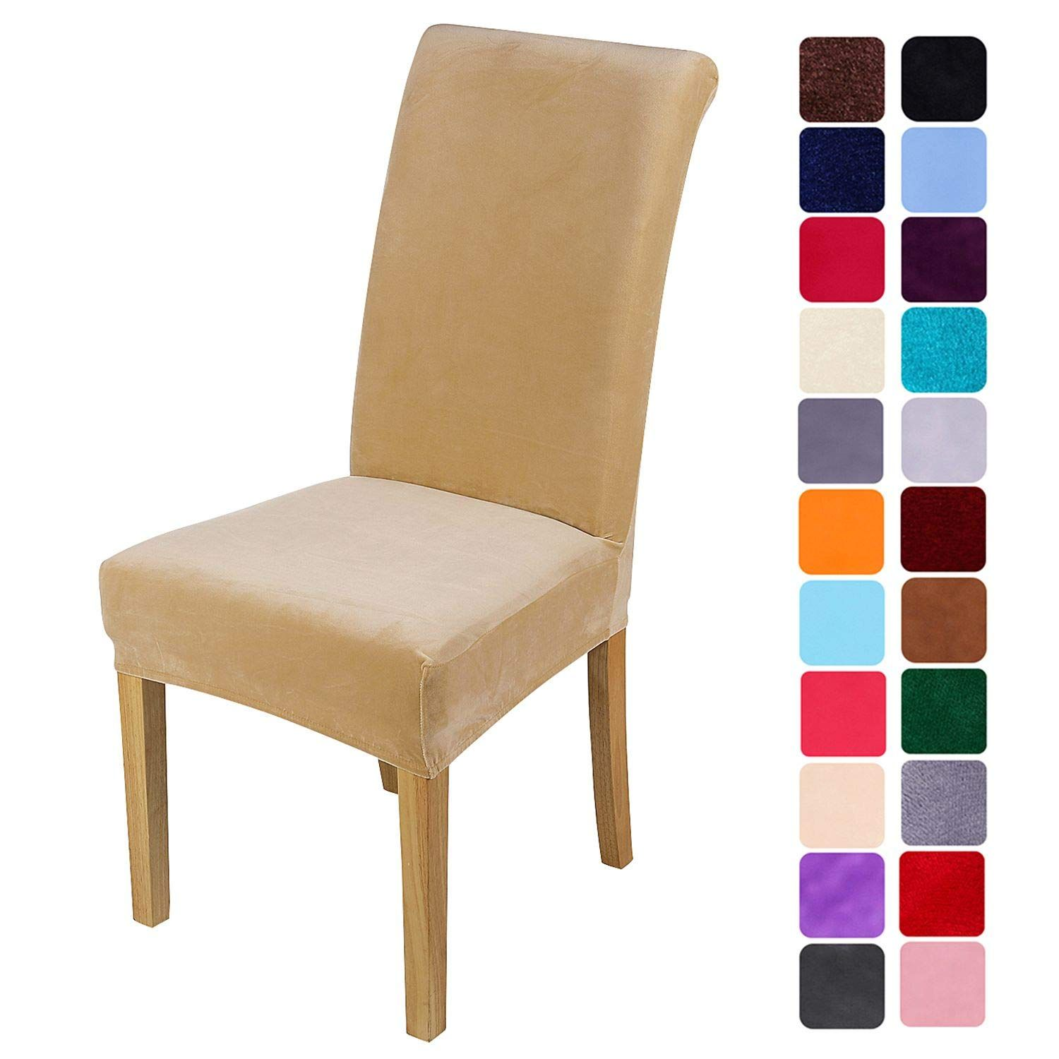 Smiry Velvet Stretch Dining Room Chair Covers Soft Removable Dining Chair Slipcovers Set Dining Room Chair Covers Slipcovers For Chairs Dining Chair Slipcovers