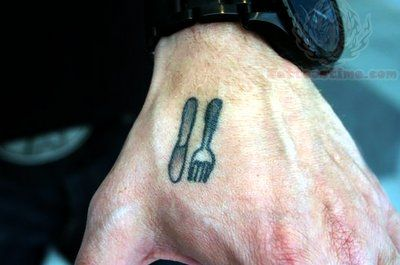 Chef Knife And Fork Tattoo On Hand Inky Pinterest