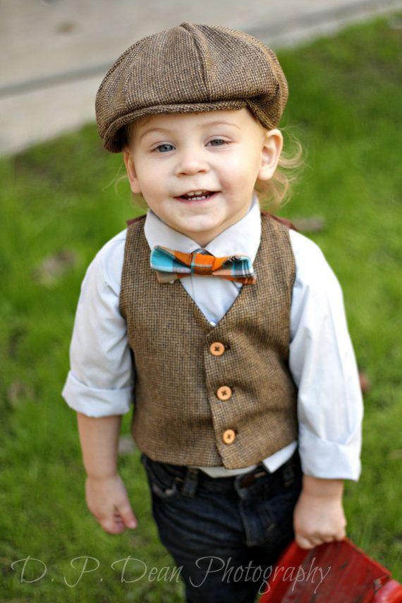 Baby boy Boys Vest Newsboy Hat Bow Tie Ring by fourtinycousins ... f2efe9c6669