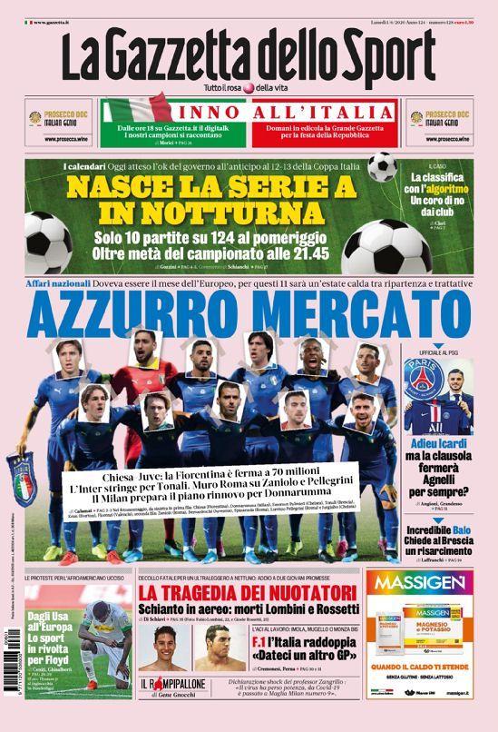 La prima pagina della Gazzetta dello Sport del 01/06/2020
