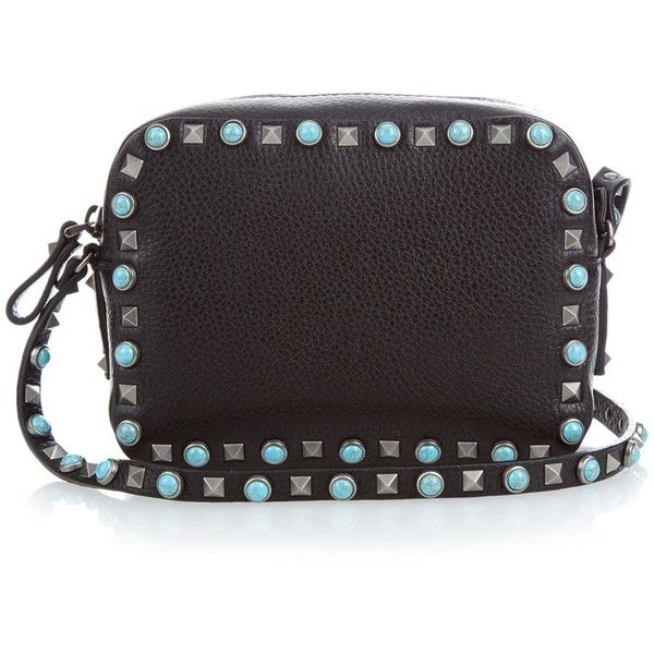 Valentino Rockstud leather cross-body bag (€1.785) ❤ liked on Polyvore featuring bags, handbags, shoulder bags, black multi, leather shoulder bag, black cross body purse, black crossbody purse, black leather handbags and black crossbody
