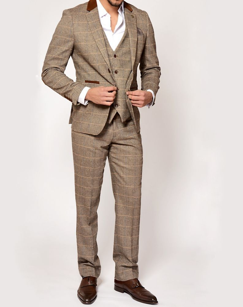 TAN MENS MARC DARCY TWEED CHECK FASHION TROUSERS STYLE DX7