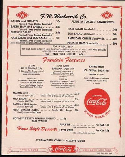 1950's era F W Woolworth Store Lunch Counter menu