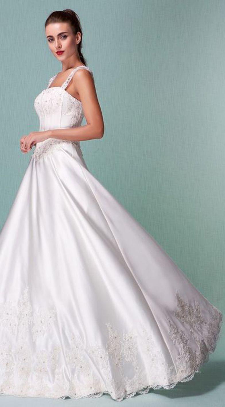 Princess Floor-length Satin Wedding Dress With Beaded Appliques ...
