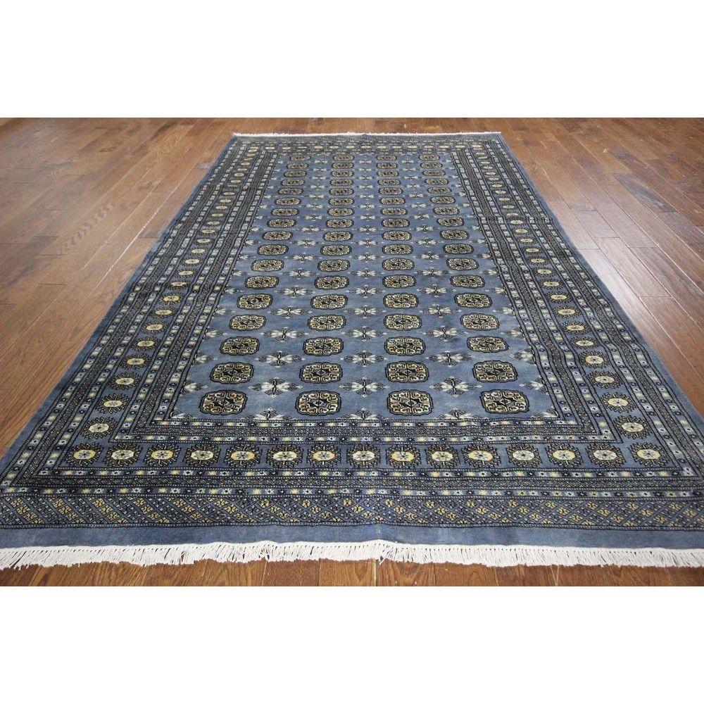 Turkmon Gul Motif Hand Knotted Oriental Blue Bokhara Wool Area Rug