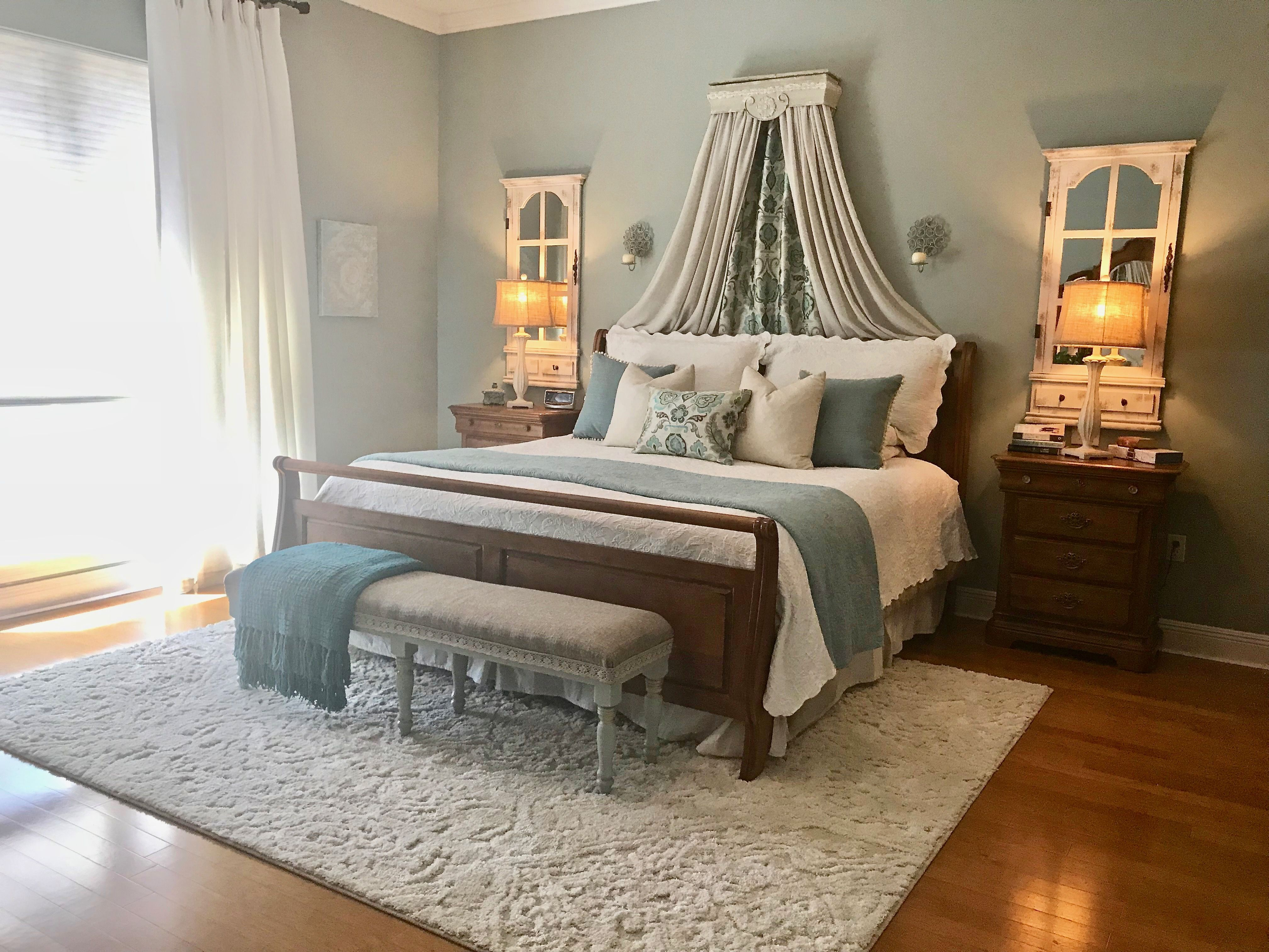 Sherwin Williams Oyster Bay Wall Paint Is The Perfect Color For A Serene Bedroom Serene Bedroom Guest Bedroom Colors Master Bedroom Paint