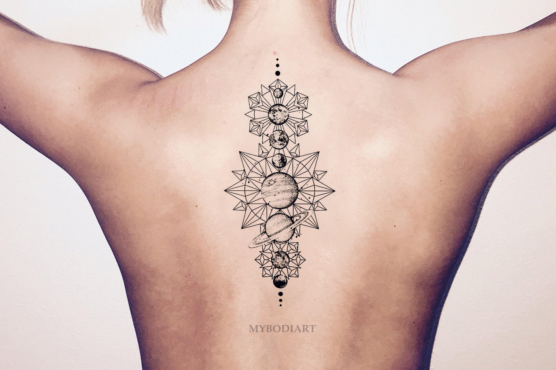 f1b0af0d4 Temporary Tattoos Inspired by Nature. Mars Venus Black Linework Geometric  Moon Star Planets Temporary Tattoo