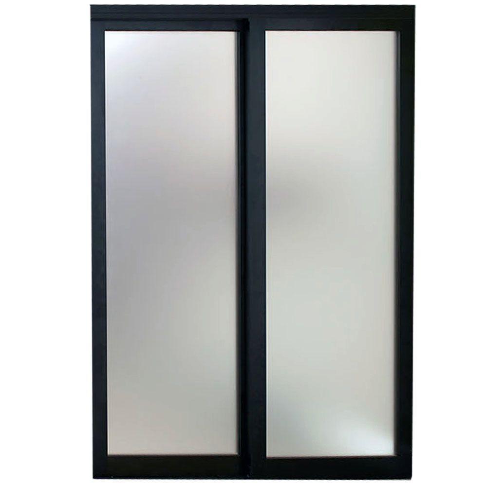 Contractors Wardrobe 48 In X 81 In Eclipse 1 Lite Bronze Aluminum Frame Mystique Glass Interior Sliding Door Ecl 4881bz2x The Home Depot Sliding Doors Interior Contractors Wardrobe Sliding Doors