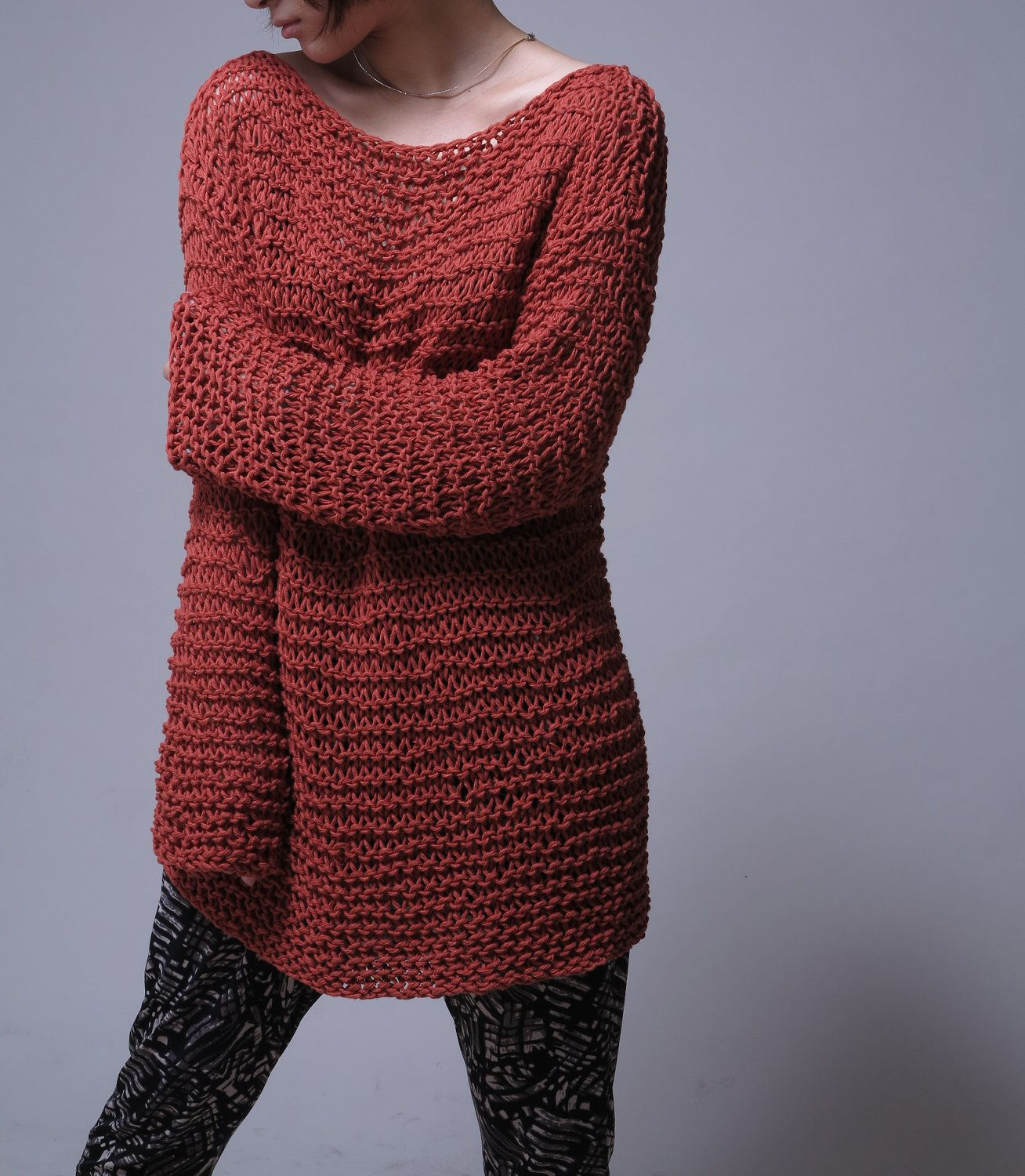 Hand knit sweater Eco cotton oversized sweater in by MaxMelody ...